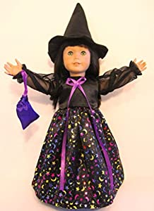 Witch Costume Fits American Girl Doll or 18 Inch Doll Clothes ~ Dress, Witch Hat, Bag **Halloween Costume!!!