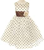 Kids Dream Girls 6 Ivory Brown Organza Dot Flower Girl Easter Dress