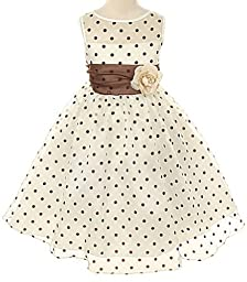 Ivory Organza Special Occasion Dress with Brown Polka Dots Girls - 10