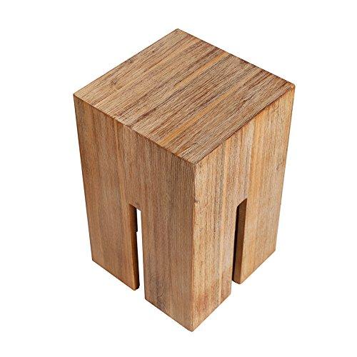 Massiver-Hocker-CASTLE-45cm-Akazie-gebrstet-Wild-Teak-Finish-Massivholz-Fuhocker-Beistelltisch-Holztisch