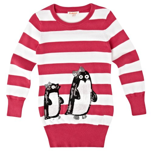 bluezoo Girl's Dark Pink Penguin Tunic
