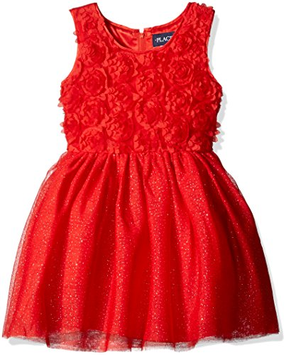 The Children's Place Girls' Little Sleeveless Rosette Dress, China Red, 6