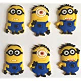 Despicable Me Minions Yellow Shoe Charms Set of 6, Shoes, Crafts, Cake Toppers * 105 *