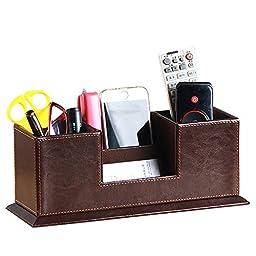 UnionBasic PU Leather 4 Compartment Desk Organizer Card/Pen/Pencil/Mobile Phone Office Supplies Holder Collection Desktop Organizer (Coffee (Cowhide))