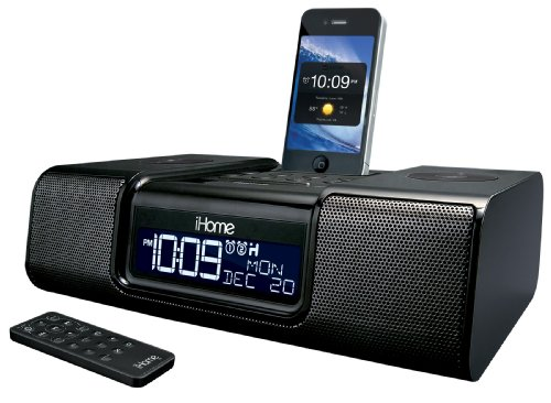 iHome iA9BZC App-Enhanced Dual Alarm Clock Radio for iPhone/iPod with AM/FM presets (Black)