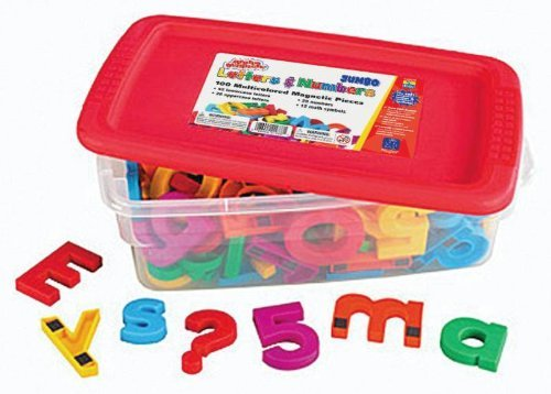 School Smart Jumbo Magnetic Letters And Numbers - 2 1/2 Inches - Set Of 100 - Multiple Colors front-984629