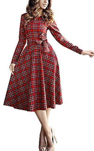 CRAVOG Women's Casual Empire Waist Long Sleeve Plaid A-line Dress Knee Length