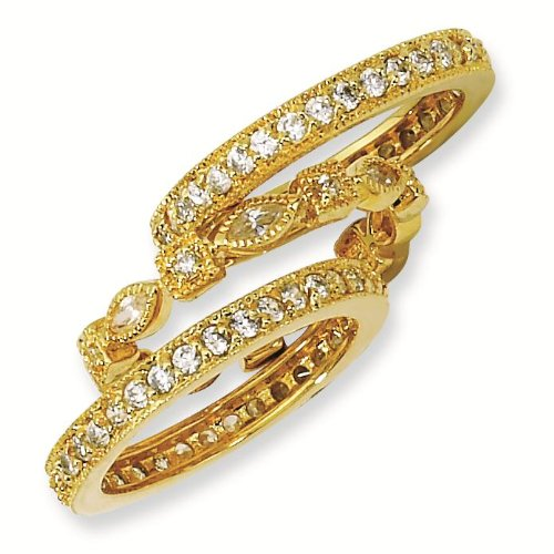 Gold-plated Sterling Silver CZ Eternity Three Ring Set - Size 7