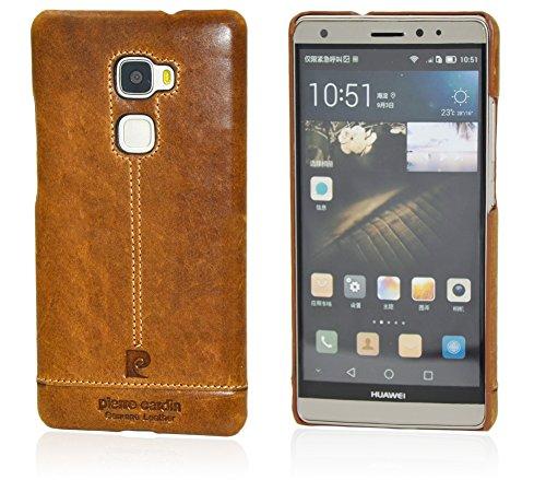 Huawei Mate S Custodia telefonino, Pierre Cardin Custodia rigida con copertina nera sottile Premium Vintage di Lusso in autentica