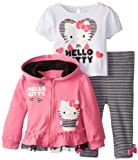 Hello Kitty Baby Baby-Girls Infant 3 Piece Jacket Set with Glitter Screenprint