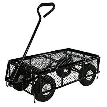 Sunnydaze Utility Cart with RemovableFolding Sides, Black, 34 Inches Long x 18 Inches Wide, 400 Pound Weight Capacity