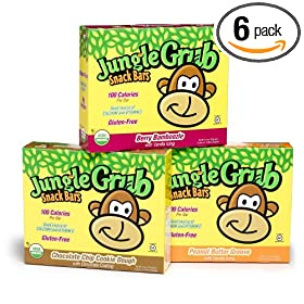 Jungle Grub Snack Bars Variety Pack, Chocolate Chip Cookie Dough, Peanut Butter Groove, Berry Bamboozle, 5-Count, 4.4 Ounce Boxes (Pack of 6)