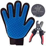 True Touch Dog Grooming Glove Brush Deshedding Glove for Gentle and Efficient Pet Grooming Deshedding Tool For Long and Short Hair Grooming Free with A Wild Tribe Pet Nail Clipper