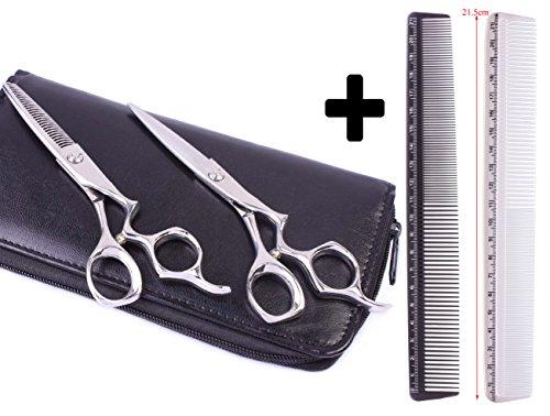 2 peignes pour coiffeur, peignes avec système de mesure intégré, avec 1 lot de 2 paires de ciseaux professionnels pour salon de coiffure