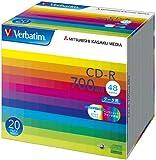 三菱化学メディア Verbatim CD-R 700MB 1回記録用 48倍速 5mmケース 20枚パック ワイド印刷対応 ホワイトレーベル SR80SP20V1
