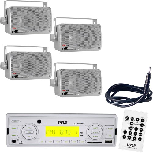 Pyle Marine Radio Receiver, Speaker And Cable Package - Plmr89Ww Am/Fm-Mpx In-Dash Marine Mp3 Player/Weatherband/Usb & Sd, Mmc Memory Card Function - 2X Plmr24S 2 Pairs Of 3.5'' 200 Watt 3-Way Water Proof Mini Box Speaker System (Silver Color) - Plmrnt1 2