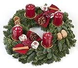 Lawn & Patio - Echter Adventskranz Kerzenzauber, 30 cm im Duchmesser, mit rotbraunen Kerzen