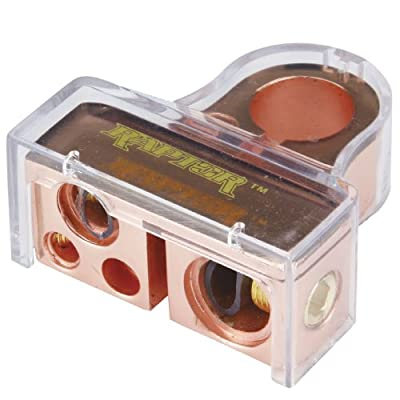Raptor RGBTN-4C Rose Gold Negative Battery Terminal with Cover (1) 1/0 Gauge (1) 4 Gauge (2) 8 Gauge Out