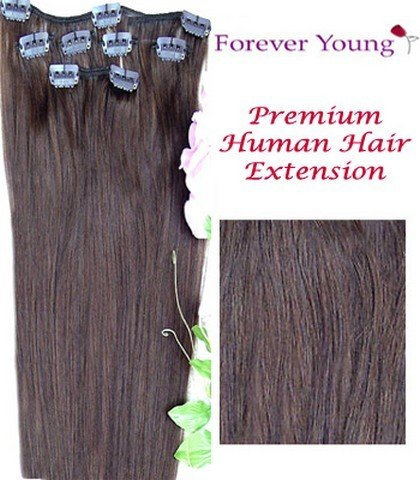 Forever Young Medium Brown #4 Clip In Human Hair Extension Half Head Set - 16