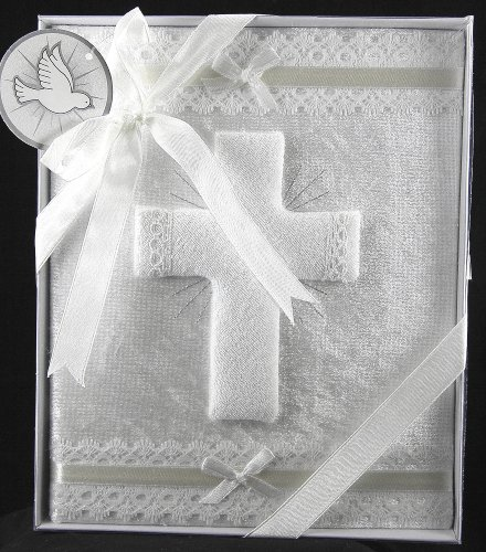 Bless This Baby Photo Album - White Velvet Covered / Decorative Embroidery - 1
