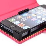 PU Leather Universal Book Folio Phone Cover fits Alcatel OneTouch Evolve Case - HOT PINK. Bonus Ekatomi Screen Cleaner