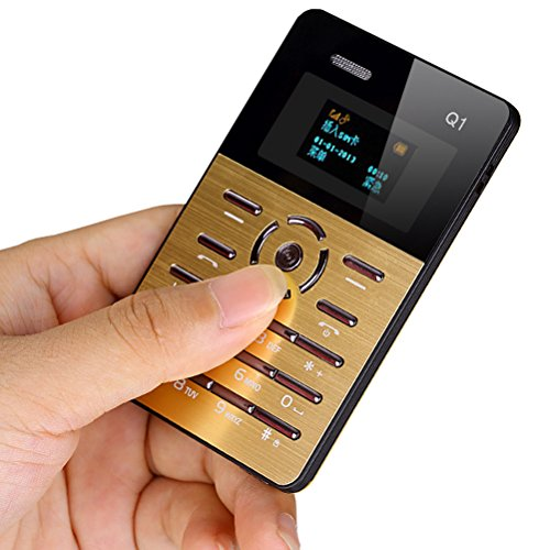 Tomorrow Mini Card Cell Phones Ultra Thin for Children Students Outdoor, with Earphone for Free (Gloden)