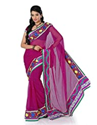 Designersareez Women Chiffon Embroidered Dark Magenta Saree With Unstitched Blouse(1401)