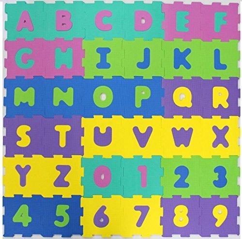 TÜV GEPRÜFT FORMAMID FREI EVA Puzzlematten Puzzleteppich Bodenmatten Bodenpuzzles 36teilig (Zahlen und Buchstaben) oder 10 teilig (Zahlen) TÜV geprüfte Formamide Werte (36 Matten Farbe Pastell)
