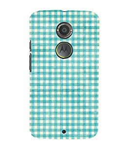 Blue check pattern 3D Hard Polycarbonate Designer Back Case Cover for Motorola Moto X2 :: Motorola Moto X (2nd Gen)