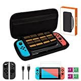 Nintendo Swtich Accessories Bundle, Nintendo Swtich Starter Kit, Protective Carrying Case and Screen Protector for Switch Game Consoles,Charging Cable, Joy-Con Cover,Cleaning Wipes, Travel Shell,Black