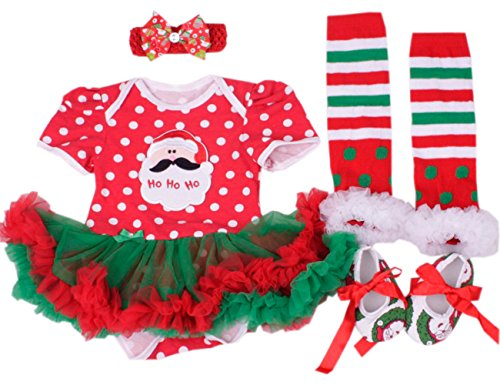 CAKYE® Baby Girls' Christmas Outfits 4PCs Santa Tutu Dress Legging Shoe Headband