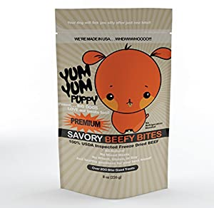 YumYum Puppy Savory Beef Bites Dog Treats (8 oz.) - All-Natural USDA Inspected Freeze Dried Beef - Gluten, Grain & Wheat Free - Dog Training Treats & Pet Supplies