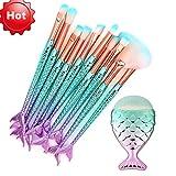 TrimakeShop 11PCS Mermaid Make Up Brushes Set Foundation Powder Cream Eyebrow Eyeliner Blush Cosmetic Concealer Oval Brush