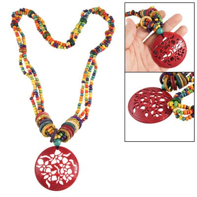 Rosallini Hollow Out Round Flower Pendant Tibetan Style Necklace