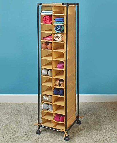 Tall Slim Space Saving Stylish Fashionista Shoe Cubby Rolling Storage Unit Cart (natural) (Shoe Cart compare prices)