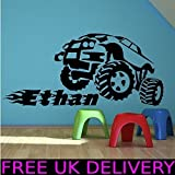 Personalised Monster Truck Name Bedroom Wall Art Stickers Decal Transfer Mural