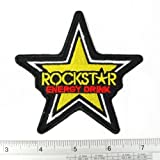 Rockstar Energy Drink Iron on Patch Embroidered Racing DIY T-shirt Jacket 3.75x3.75' Yellow Sold By R.M.A.