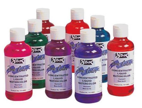 Sax Concentrate Washable Liquid Watercolor Paints - 8 Ounce - Set of 8 - Assorted Colors