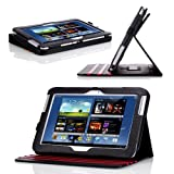 Poetic Dura Book Multi Angle Folio Cover Case for The Samsung Galaxy Note 10.1 Black/Red (Landscape / Portrait View)(Included 2 Micro SD Card Slots) (3 Year Manufacturer Warranty From Poetic)