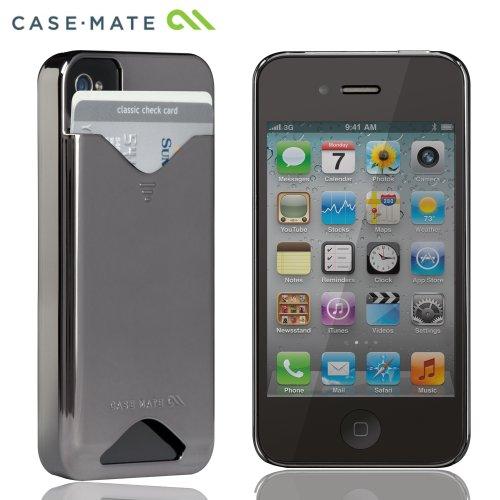 Case-Mate 日本正規品 iPhone 4S / 4 カードホルダー付ハードケース ID Case グロス・メタリック・シルバー CM015574
