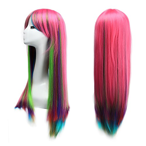 Leiwo Wigs,31.5 inch(80cm) Long Straight Wig with Wig Cap for Cosplay, Halloween Party-Colorful (Halloween Costumes With Colored Wigs)