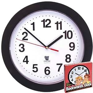 Black Backwards Wall Clock, Runs Counterclockwise and Reverse