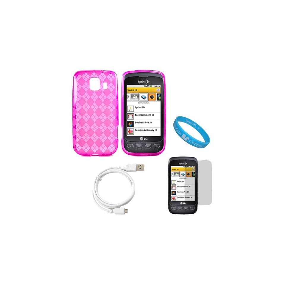 Pink Argyle Rubberzied TPU Silicone Skin Cover Case for Sprint LG Optimus S (Model LG670KIT) + Clear Screen Protector + White Micro USB Data Cable Cord + SumacLife TM Wisdom Courage Wristband