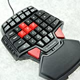 High Quality Mini Gaming Keyboard Keypad Ipad Keyboard Wired Mini Keyboard FPS Gamer Game Board Gamepad With LED Backlights And Red Cap AWSD Keys Special For One Hand CS / WOW / BF3,Crysisetc/ Diamond-Shaped, Ergonomic Design
