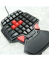 ZeleSouris FPS Clavier QWERTY Jeux Gaming Gamer rétro-éclairage Avec une main spécial Pour FPS - CS / BF3 et Crysisetc - 0.8KG