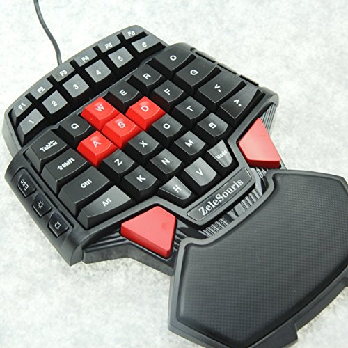 ZeleSouris Mini Gaming Keypad Gaming Keyboard Gameboard FPS Gamer Game Board Gamepad with LED Backlights and Red Cap AWSD Keys Special