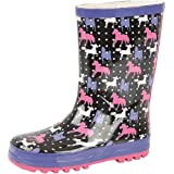 GIRLS KIDS CHILDRENS WELLIES WELLYS WELLINGTON BOOTS RAIN SNOW BOOTS CATS HORSES POLKA DOTS LEOPARD CUPCAKES SHOES SIZE UK 4-12