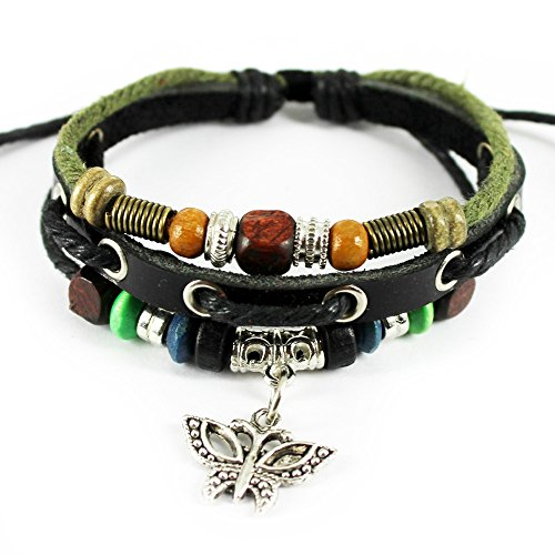 Real Spark Butterfly Pendant Wood Beaded Adjustable Length Leather Wrap Bracelet