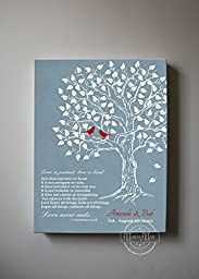 MuralMax - Personalized Family Tree & Lovebirds, Stretched Canvas Wall Art, Make Your Wedding & Anniversary Gifts Memorable, Unique Decor, Color Blue # 4 - 30-DAY Money Back Guarantee - Size - 16x20