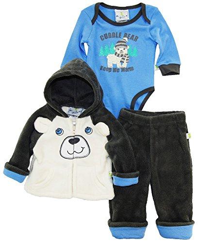 duck-goose-baby-boys-polar-teddy-bear-sherpa-jacket-bodysuit-3pc-pant-set-grey-3-6-months